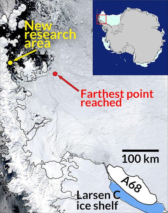 Die Forscher machten sich auf den Weg zum Eisberg A68, der im Juli 2017 vom Larsen C Schelfeis abbrach. Doch rund 400 Kilometer vor ihrem Ziel zwang dickes Meereis die Forscher zur Umkehr. Sie bewegen sich jetzt in relativ eisfreien Gewässern in Richtung Larsen A Schelfeis, wo 1995 ein riesiger Eisberg abbrach. Seitdem hat keine biologische Expedition den Meeresboden dort untersucht, sagte die Meeresbiologin Katrin Linse. «Wir sind gespannt welche Tiefseegeschöpfe wir dort finden werden.» (Bild: BAS)