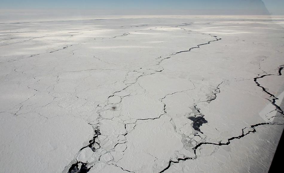 Rinnen mit einer Größe von einem bis zehn Kilometern bilden sich im Eis. Sie stellen ein wesentliches Strukturelement des Meereises dar. Obgleich sie im Allgemeinen nur wenige Prozent der mit Meereis bedeckten Fläche ausmachen, sind sie innerhalb des winterlichen Packeises von Bedeutung für viele physikalische und biologische Prozesse. (Foto: Wendy Pyper)