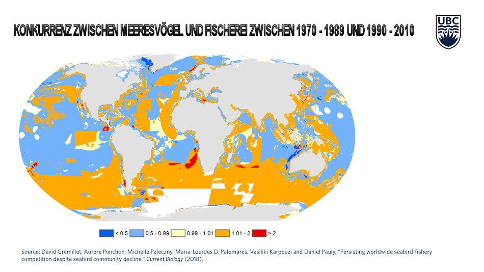 Die von den Forschern erstellte Karte zeigt klar, dass in den vergangenen 40 Jahren die Konkurrenz zwischen Fischerei und Vogelarten massiv angestiegen ist. Besonders im Südpolarmeer ist der Druck grösser geworden (orange, rot). Bild: Grémillet et al. (2018) Current Biology