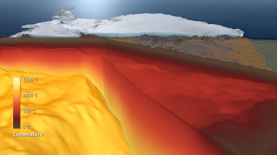 Der Aufbau der Erdkruste und des Erdmantels unter der Antarktis. © ESA/Planetary Visions