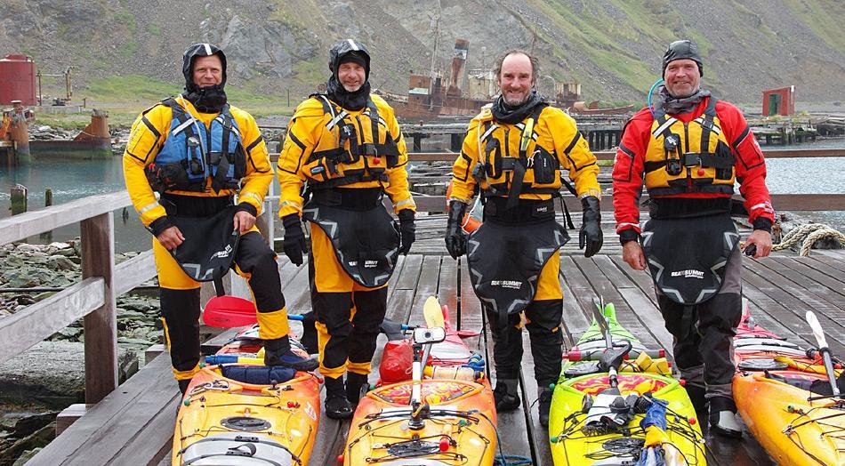 Die vier Australier begannen ihre Fahrt in Grytviken, dem einzigen permanent bewohnten Ort auf Südgeorgien. Foto: South Georgia Circumnavigators