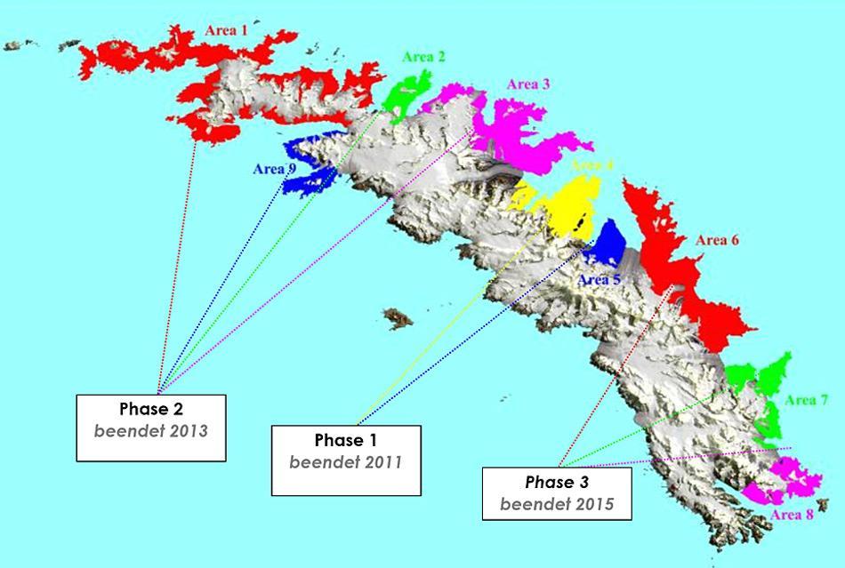 Die von der Rattenplage betroffenen Gebiete Südgeorgiens wurden in 9 Areale unterteilt, die in 3 Phasen ab 2011 mit speziellen Ködern versetzt wurden. Ein 2-jähriges Überwachungsprogramm kontrolliert den Erfolg der Aktion. Quelle: SGHT