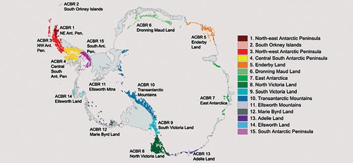 Die Antarktis wurde in 15 unterschiedliche Regionen auf dem Festland und nahegelegenen Inseln eingeteilt.