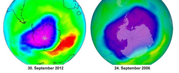 Deutlich zu erkennen ist der Unterschied von der grössten Ausdehnung des Ozonloches am 24. September 2006 zur Ausdehnung vom 30. September 2012.