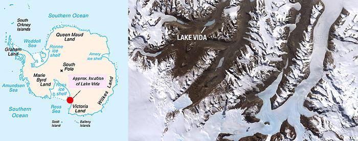 Der Lake Vida liegt im Victoria Valley, eines der nördlichsten antarktischen Trockentäler in der Nähe der amerikanischen McMurdo-Station.