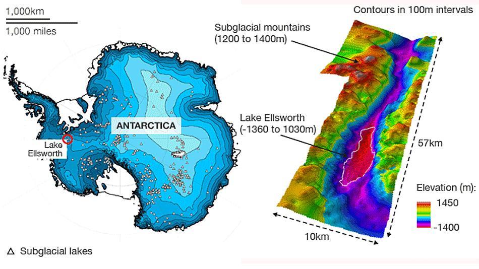 Der Lake Ellsworth liegt unter einem 3 Kilometer dicken Eispanzer in der Westantarktis.