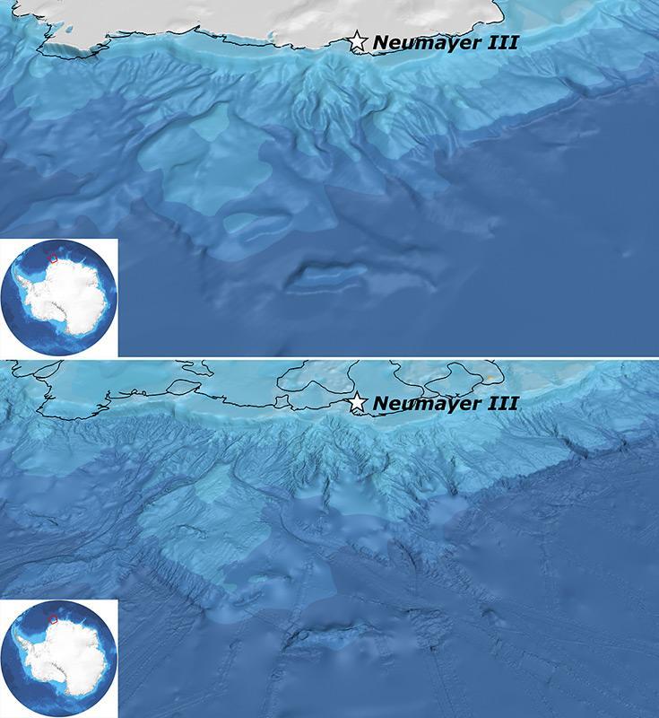 Diese zwei Bilder zeigen die Darstellung der Region nördlicher der Neumayer-Station III (Weddellmeer) im alten GEBCO_08 Datenraster (oben) sowie im Vergleich dazu die Darstellung im neuen IBCSO-Raster (unten). Die Linien, welche man in der IBCSO-Darstellung erkennen kann, sind die Echolot-Messpfade der Forschungsschiffe. Abbildung: IBCSO/Alfred-Wegener-Institut