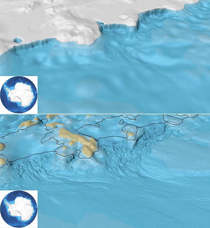 Diese zwei Bilder zeigen die Darstellung Dotson-Getz-Senke im alten GEBCO_08 Datenraster (oben) sowie im Vergleich dazu die Darstellung im neuen IBCSO-Raster. Die Linien, welche man in der IBCSO-Darstellung erkennen kann, sind die Echolot-Messpfade der Forschungsschiffe. Abbildung: IBCSO/Alfred-Wegener-Institut