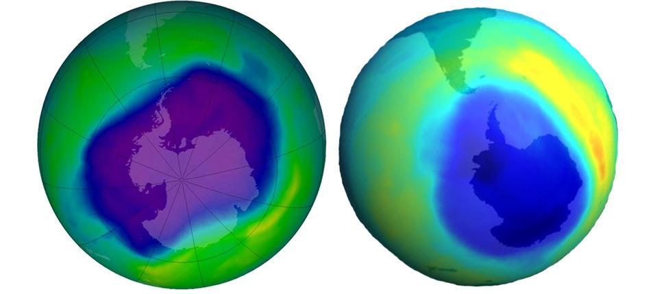 Bisher grösste Ausdehnung des antarktischen Ozonlochs am 24. September 2006 (links) und zweitgrösste Ausdehnung am 6. September 2000