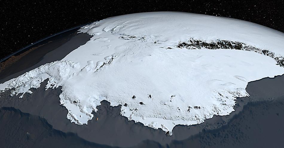 Der antarktische Eisschild bedeckt 98% des Kontinents und lässt nur einige wenige hohe Berge herausschauen, sogenannte Nunataks.