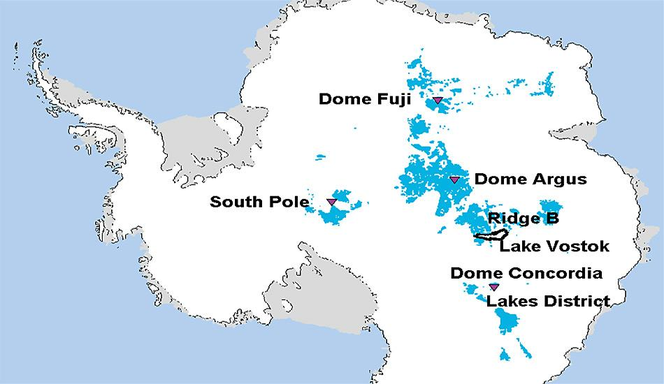 An den blau markierten Stellen vermuten die Wissenschaftler bis zu 1,5 Millionen Jahre altes Eis.