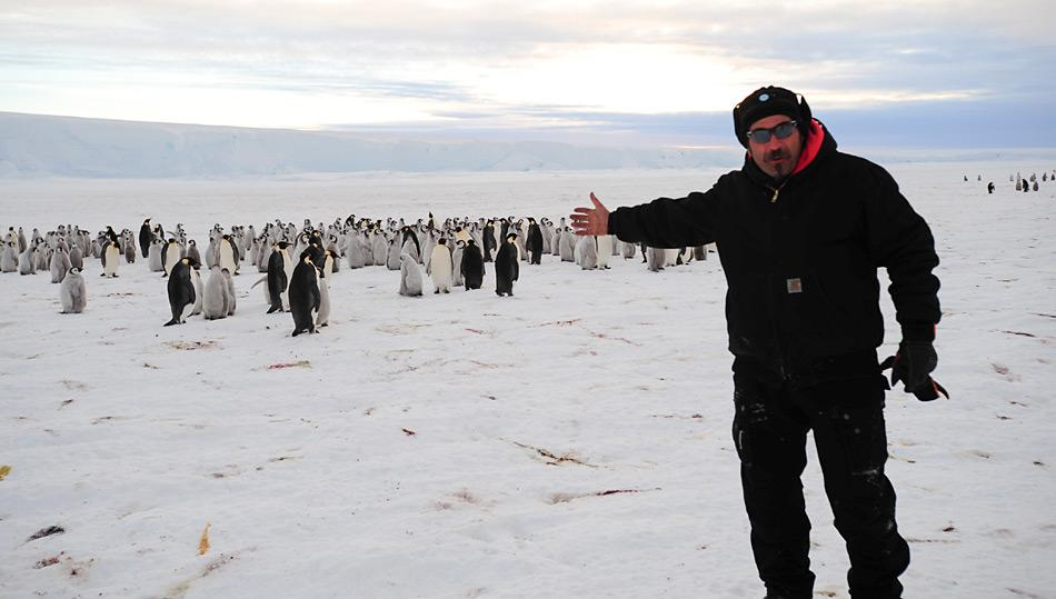 Der Chefmechaniker Kristof Soete war einer der drei ersten Menschen welche die 9000 zählende Kaiserpinguinkolonie zu sehen bekam. Bild: International Polar Foundation.