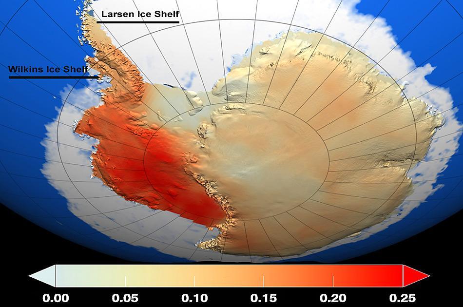 Die globale Erwärmung der letzten 50 Jahre hat eine Zweiteilung der Antarktis zur Folge, wobei sich der Westen stärker erwärmt als der Osten (rot markiert).