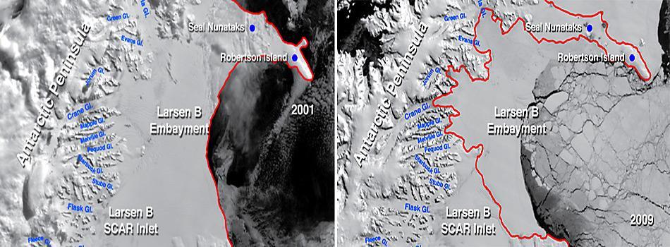 Der Zusammenbruch des «Larsen B Ice Shelf» innerhalb von acht Jahren gehört zu den grössten Eisverlusten an der Antarktischen Halbinsel. Die neue Küstenlinie ist rot markiert.