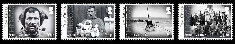 65p, Porträt Tom Crean. 75p, Crean mit Hunden. £ 1, Die «James Caird» verlässt Elephant Island. Frank Hurley und die 21 anderen Expeditionsteilnehmer hoffen auf baldige Rettung. 1,20 £, Die Crew der «Endurance» auf dem Bug des Schiffes. Tom Crean ist 2.vl in der ersten stehenden Reihe.