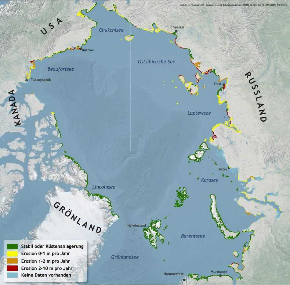 Karte zum Ausmaß der Erosion von Permafrost-Küsten in der Arktis. Erstmals veröffentlicht wurde diese Karte im Fachartikel: H. Lantuit et al (2011): The Arctic Coastal Dynamics Database: A New Classification Scheme and Statistics on Arctic Permafrost Coastlines, Estuaries and Coasts, DOI: 10.1007/s12237-010-9362-6