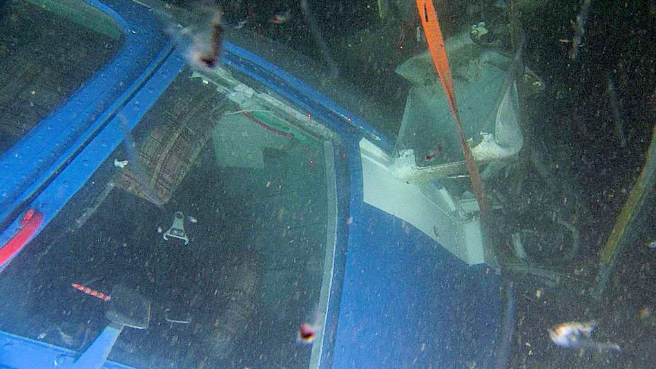 Aufnahmen des Tauchroboters der Ossian Sars zeigen das Wrack des Hubschraubers in 209 m Tiefe. Bild: G.O. Sars