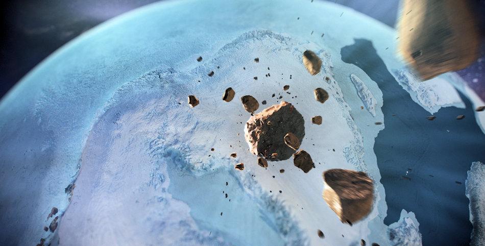 Da eine genauere Datierung des Einschlags noch nicht durchgeführt werden konnte, sind die Bedingungen während des Ereignisses unklar. Die künstlerische Abbildung des Einschlags zeigt Grönland während der Eiszeit. Bild: Natural History Museum of Denmark