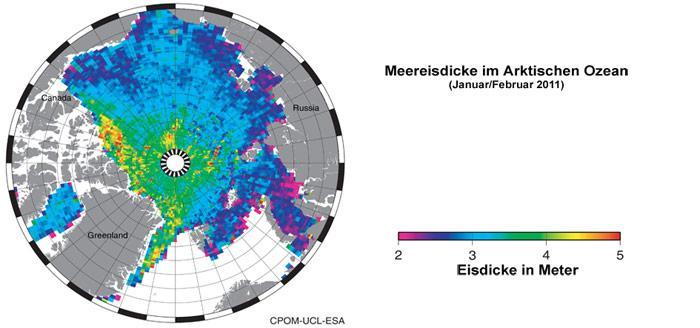 Eisdicke Arktischer Ozean