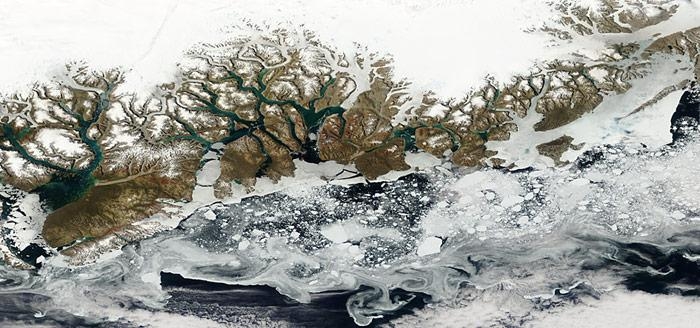 Noch gibt es Eis in Grönland, Satellitenaufnahme vom Juli 2007.