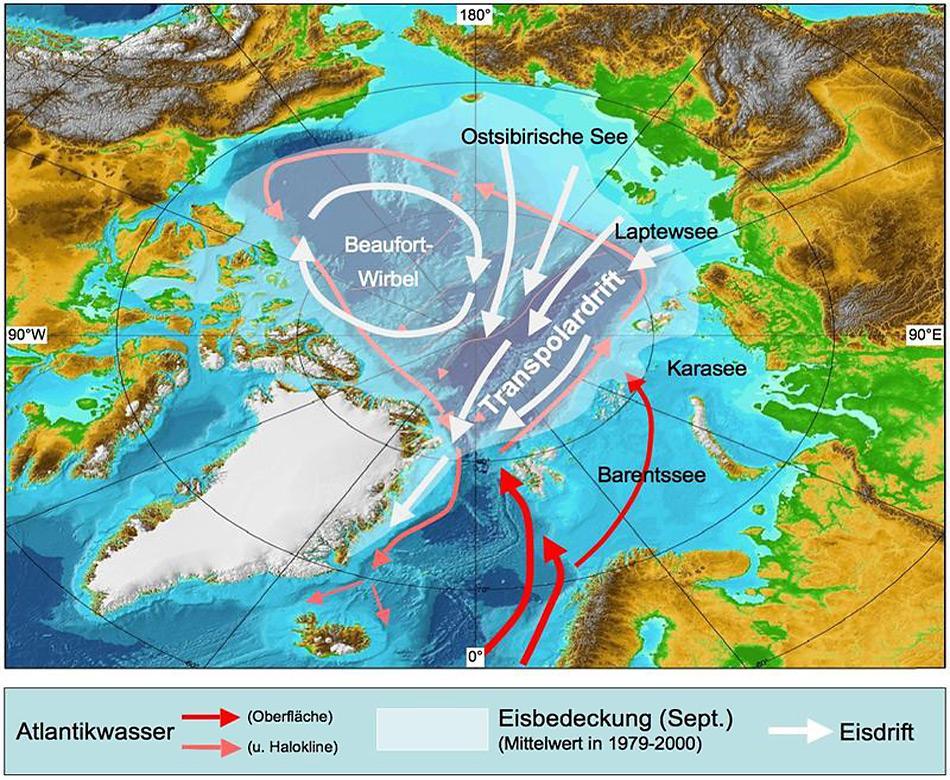 Die sibirische Laptewsee und die Framstrasse zwischen Spitzbergen und Grönland sind durch die Transpolardrift verbunden. Auch hier sind bereits Auswirkungen des Klimawandels zu beobachten.
