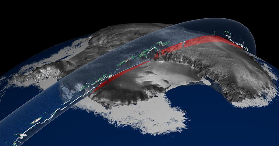 Das Modell zeigt als Beispiel eine Auswertung der Eisdicke des ICES-Satelliten in der Antarktis.