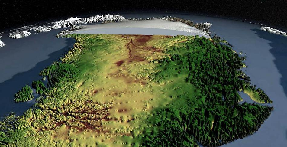 Nimmt man den Eisdeckel über Grönland ab zeigt sich eine gebirgige Topografie an den Küsten und hügelige Landschaften mit grossen Canyons im Innern von Grönland.