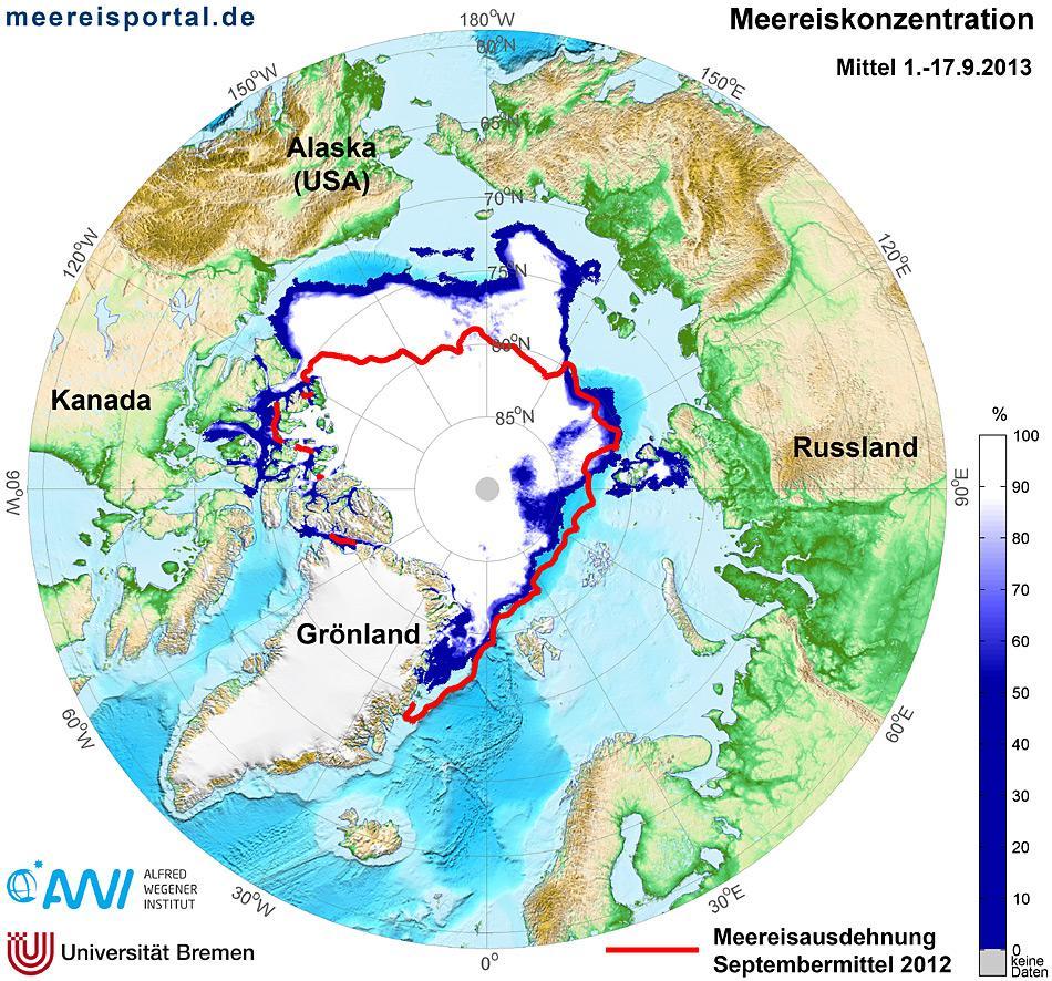 Eisausdehnung Arktis