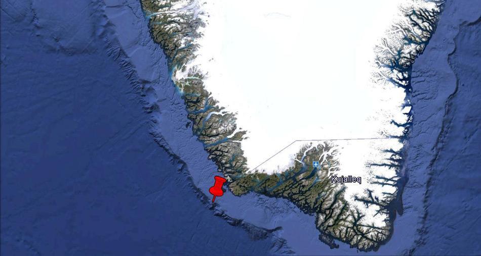 Das neuentdeckte Riff liegt an der Südwestküste Grönlands in 900 Meter Tiefe, direkt am Kontinentalabhang.