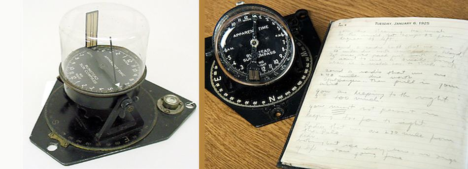 Der Sonnenkompass und das Notizbuch von Byrd, die mit auf dem historischen Flug gewesen waren.