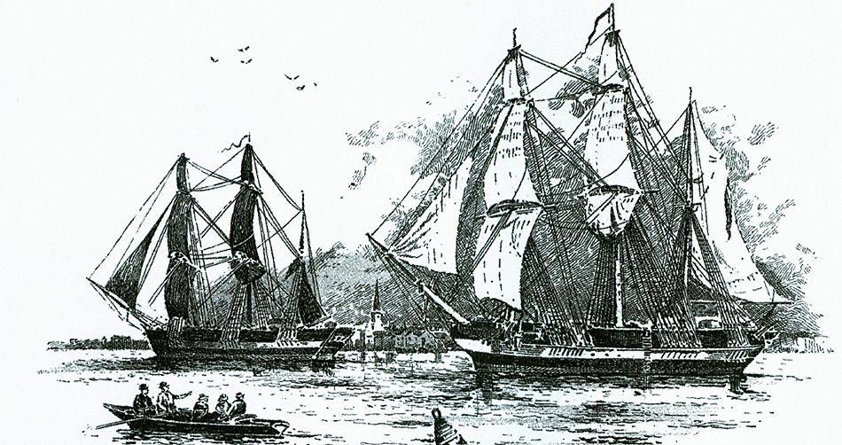 Die «HMS Erebus» und die «HMS Terror» am 19. Mai 1845 beim Verlassen von England.