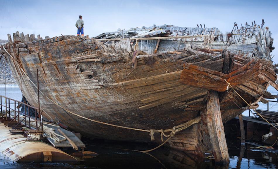 """Die Maud, benannt nach Königin Maud von Norwegen, wurde für Roald Amundsens Reise durch die Nordostpassage entworfen und gebaut. """"Es ist ein schönes Schiff und sie ist sehr stark"""", sagt Jan Wanggaard, der Projektleiter des norwegischen Teams Maud Returns Home. Bild: Jan Wanggaard"""
