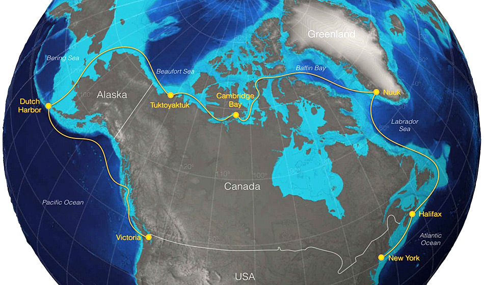 Gemäss den Organisatoren sollen die Jachten in New York starten und auf ihrem Weg nach Victoria, BC, Kanada Zwischenhalte in Halifax, Nuuk, Cambridge Bay, Tuktoyaktuk und Dutch Harbor (Aleuten) einlegen. Karte: Sailing The Arctic Race